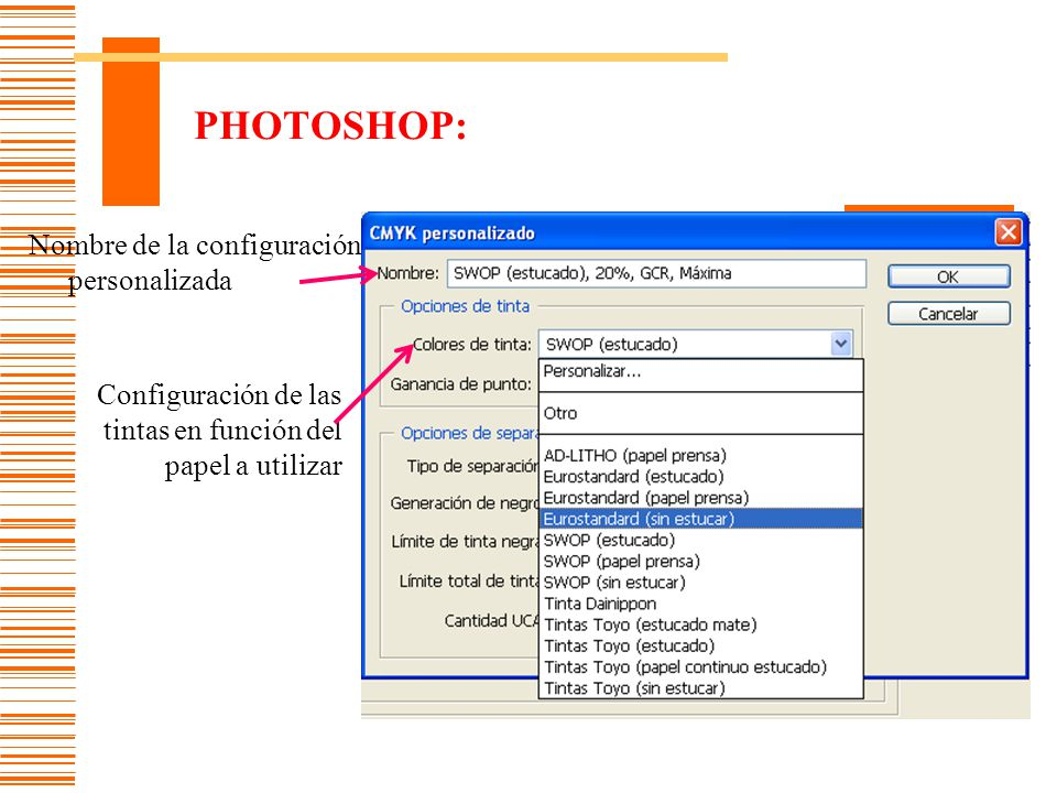 PHOTOSHOP: Nombre de la configuración personalizada