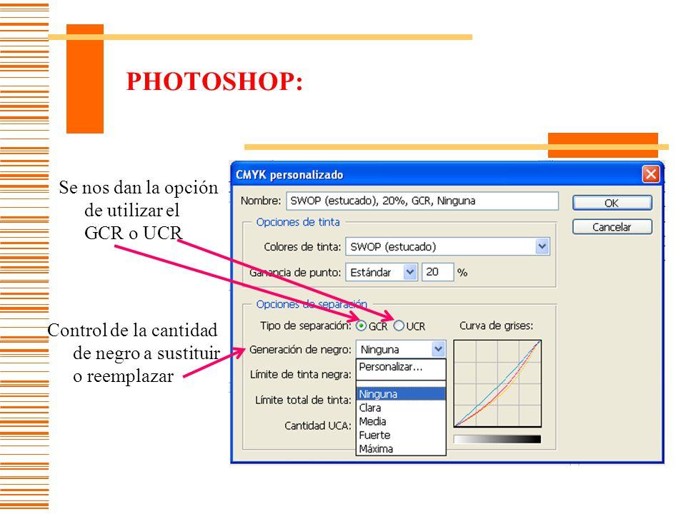 PHOTOSHOP: Se nos dan la opción de utilizar el GCR o UCR