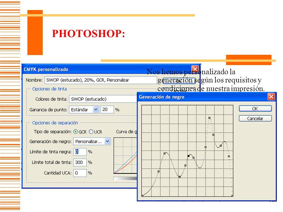PHOTOSHOP: Nos hemos personalizado la generación según los requisitos y condiciones de nuestra impresión.
