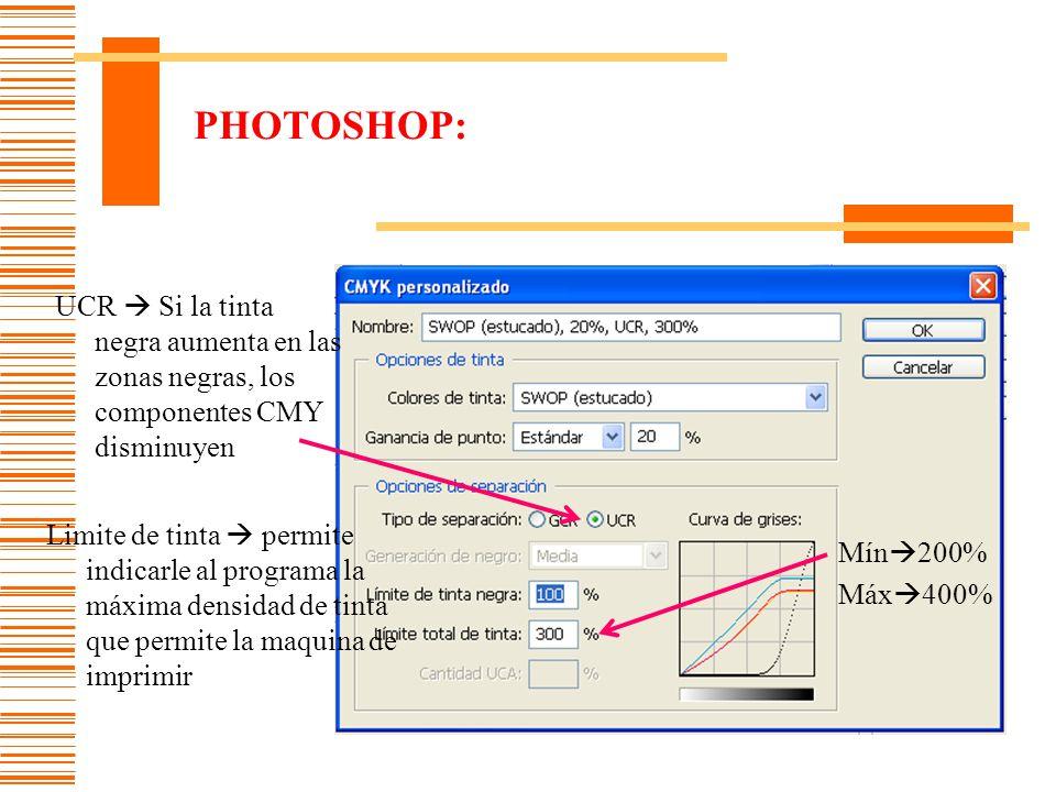 PHOTOSHOP: UCR  Si la tinta negra aumenta en las zonas negras, los componentes CMY disminuyen.