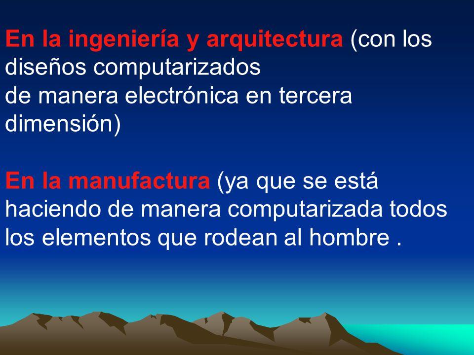 En la ingeniería y arquitectura (con los diseños computarizados