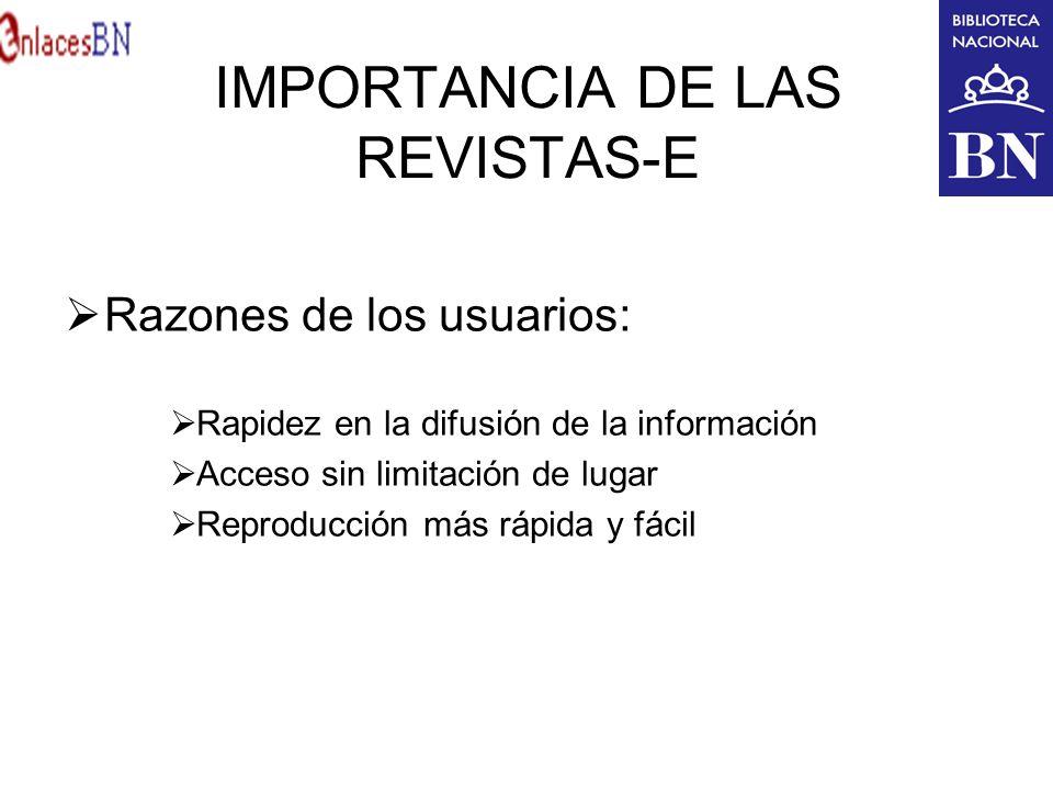 IMPORTANCIA DE LAS REVISTAS-E