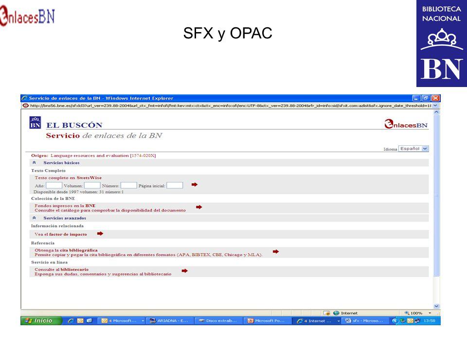 SFX y OPAC
