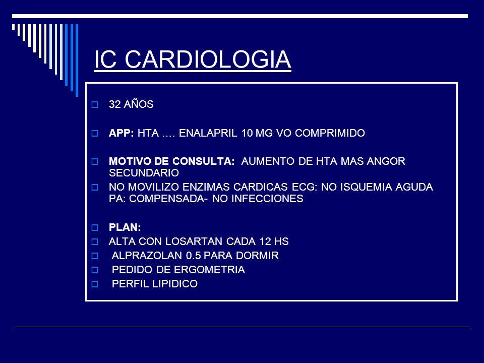 IC CARDIOLOGIA 32 AÑOS APP: HTA …. ENALAPRIL 10 MG VO COMPRIMIDO