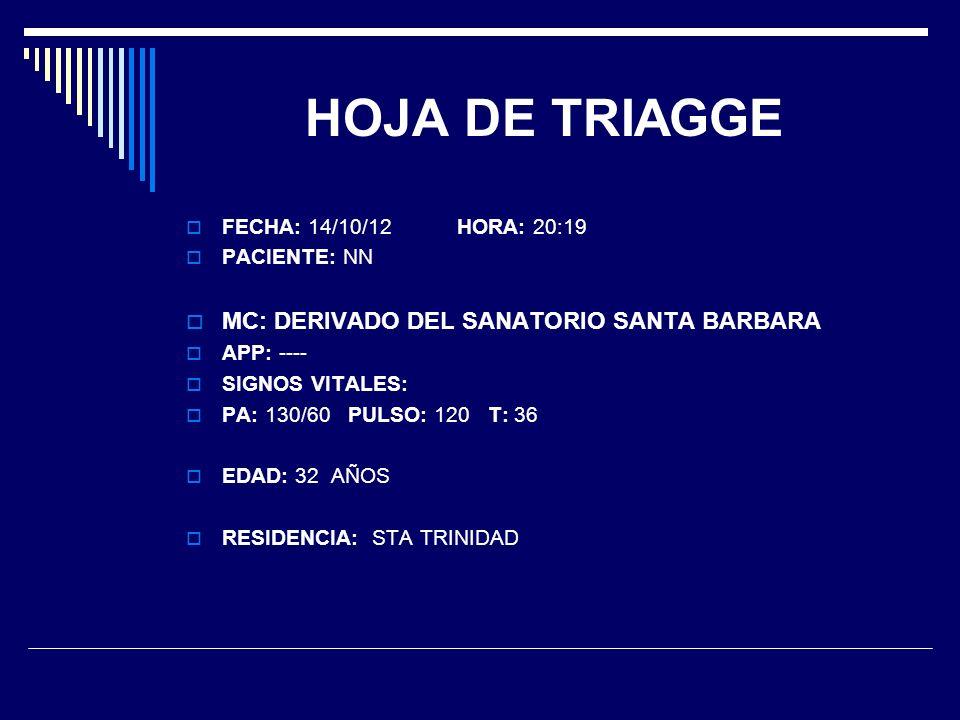 HOJA DE TRIAGGE MC: DERIVADO DEL SANATORIO SANTA BARBARA