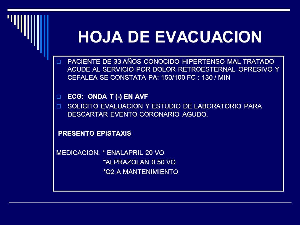 HOJA DE EVACUACION
