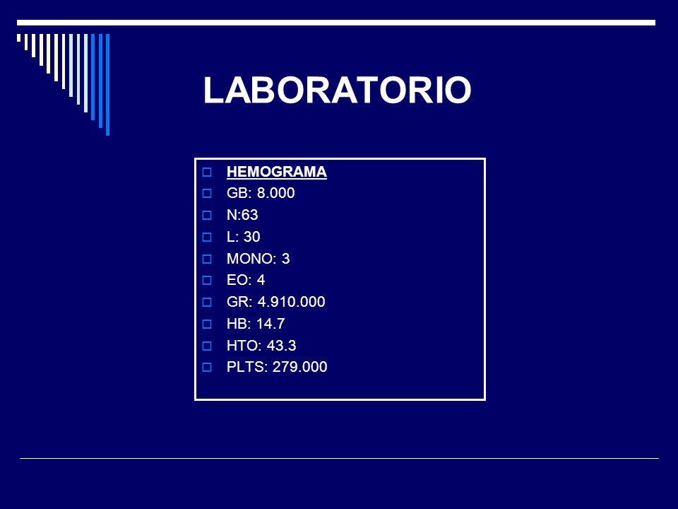LABORATORIO HEMOGRAMA GB: 8.000 N:63 L: 30 MONO: 3 EO: 4 GR: 4.910.000