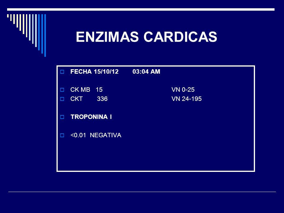 ENZIMAS CARDICAS FECHA 15/10/12 03:04 AM CK MB 15 VN 0-25