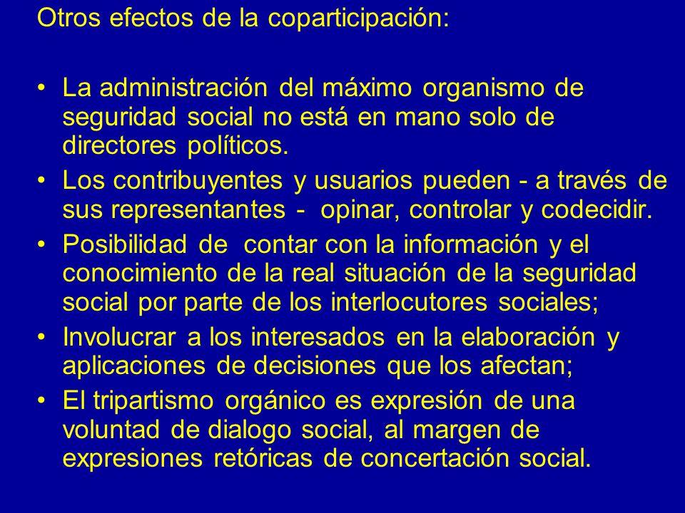 Otros efectos de la coparticipación: