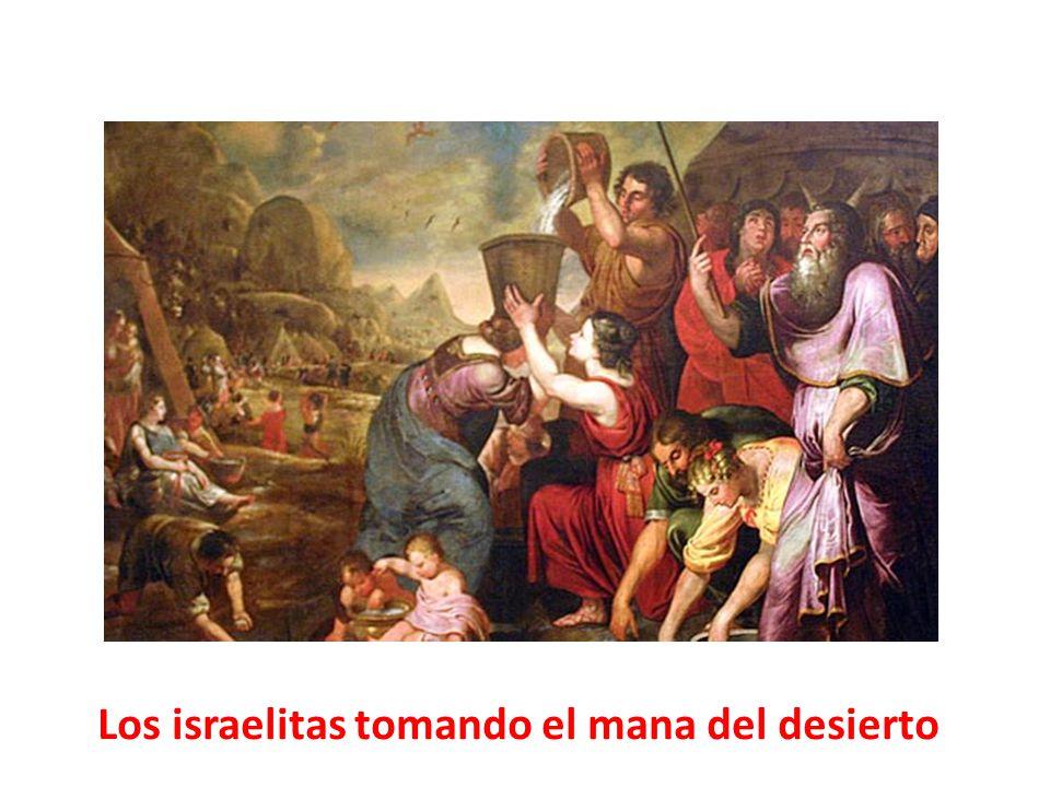 Los israelitas tomando el mana del desierto