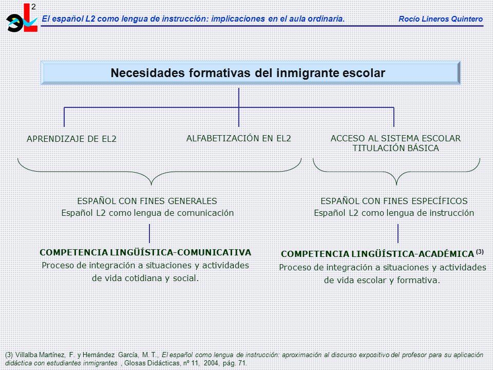 Necesidades formativas del inmigrante escolar