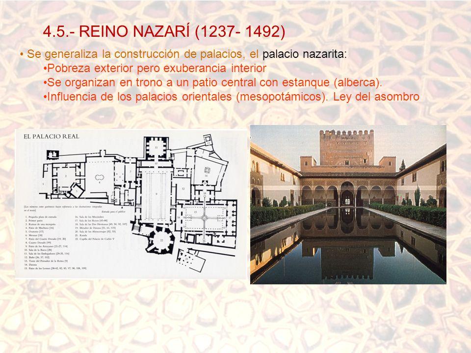 4.5.- REINO NAZARÍ (1237- 1492) Se generaliza la construcción de palacios, el palacio nazarita: Pobreza exterior pero exuberancia interior.