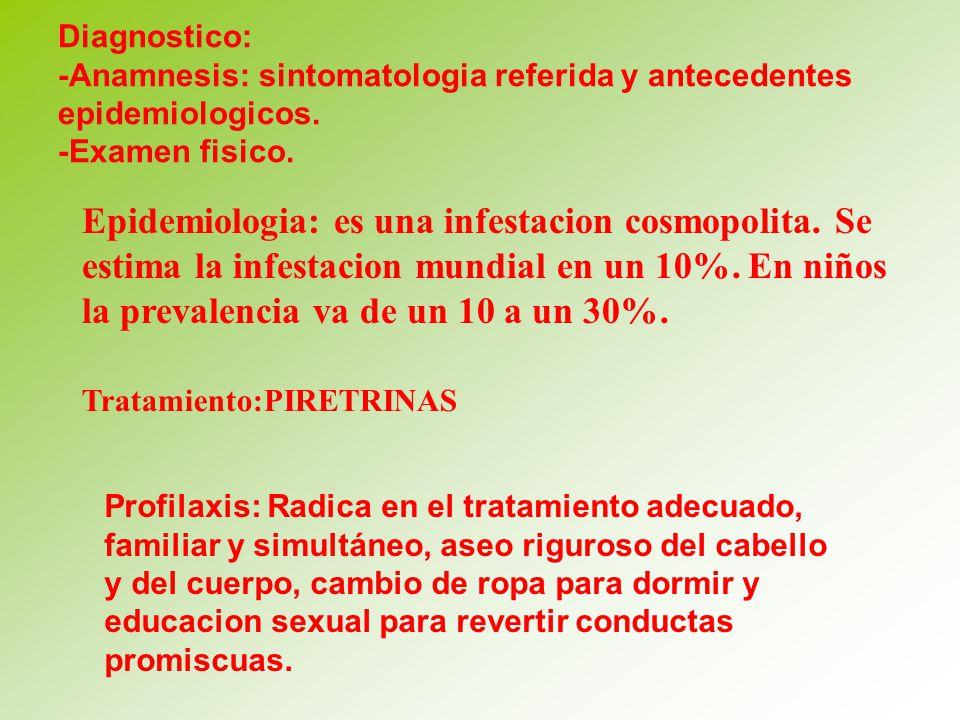 Diagnostico: -Anamnesis: sintomatologia referida y antecedentes epidemiologicos. -Examen fisico.