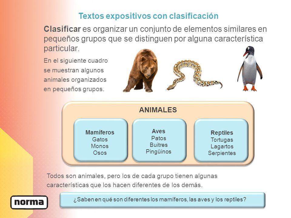 Textos expositivos con clasificación