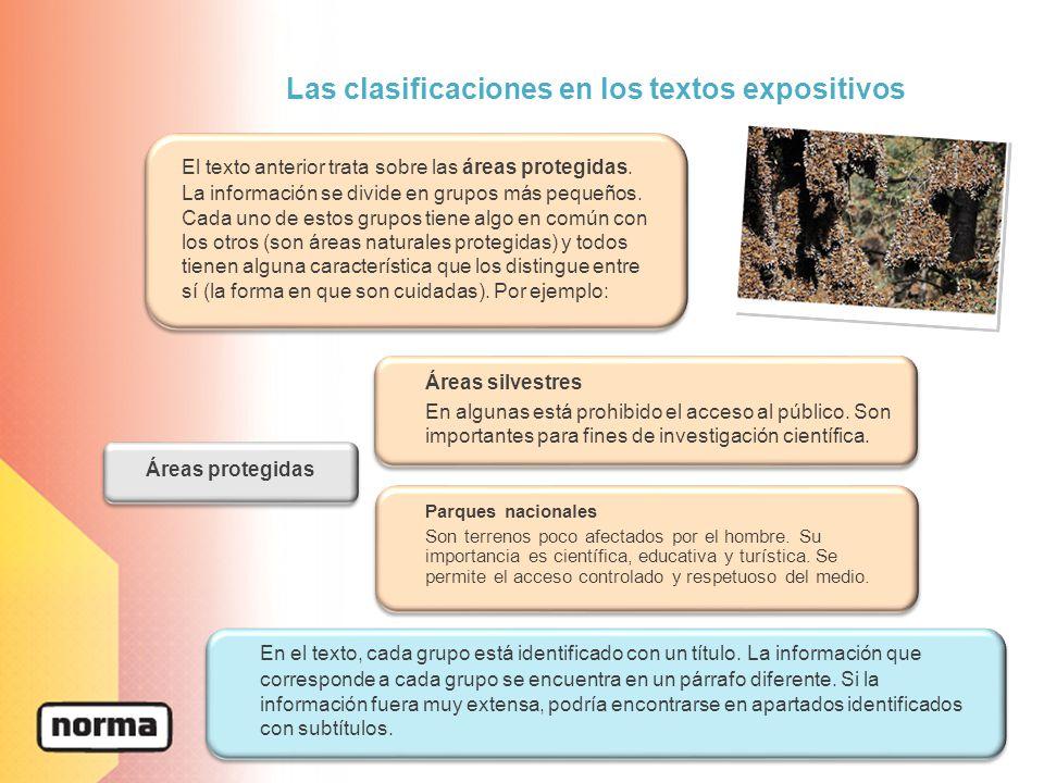 Las clasificaciones en los textos expositivos