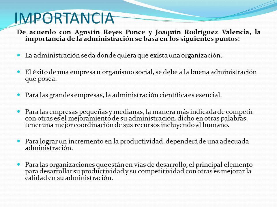 IMPORTANCIA De acuerdo con Agustín Reyes Ponce y Joaquín Rodríguez Valencia, la importancia de la administración se basa en los siguientes puntos: