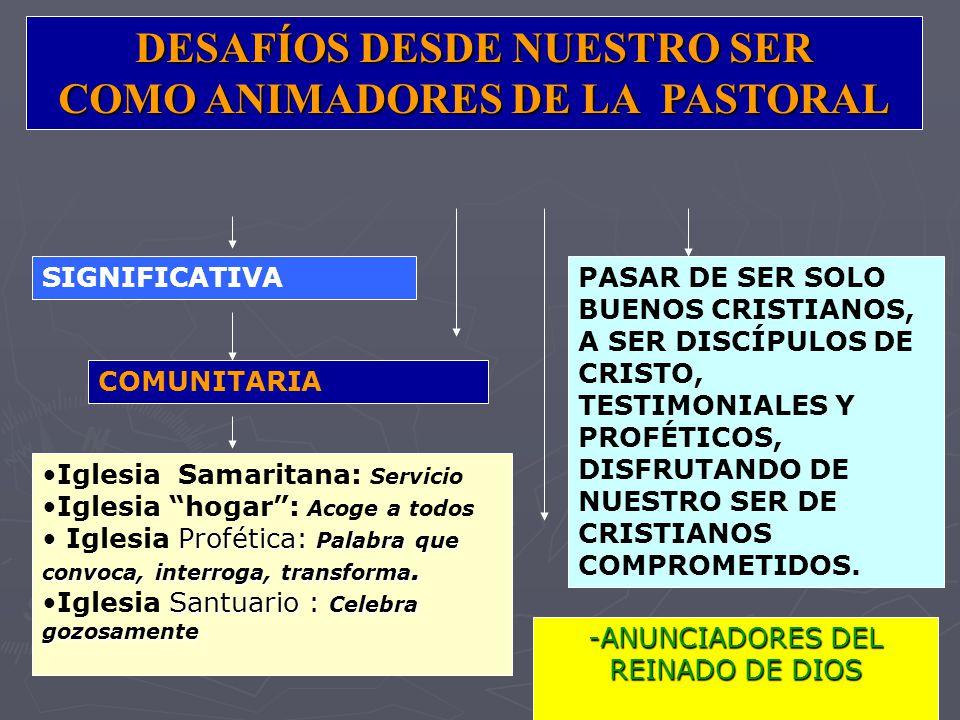 DESAFÍOS DESDE NUESTRO SER COMO ANIMADORES DE LA PASTORAL