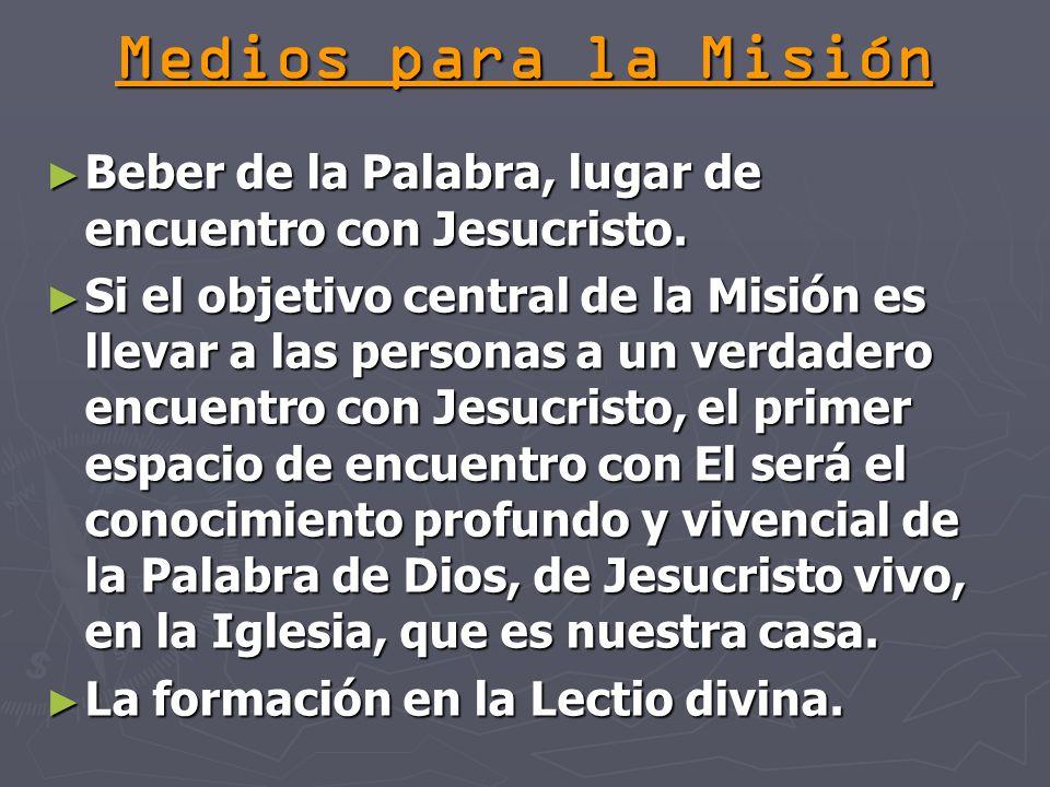 Medios para la Misión Beber de la Palabra, lugar de encuentro con Jesucristo.