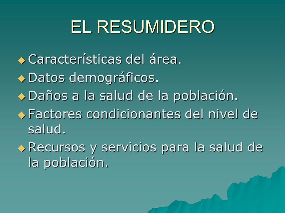 EL RESUMIDERO Características del área. Datos demográficos.
