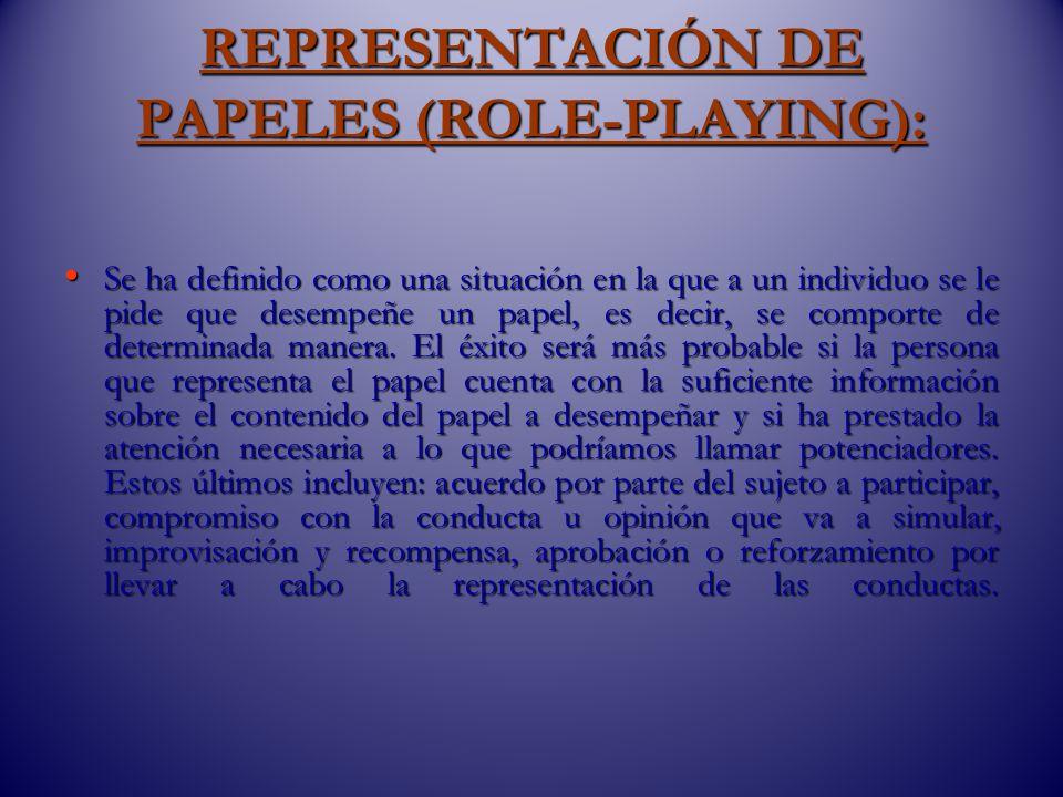 REPRESENTACIÓN DE PAPELES (ROLE-PLAYING):