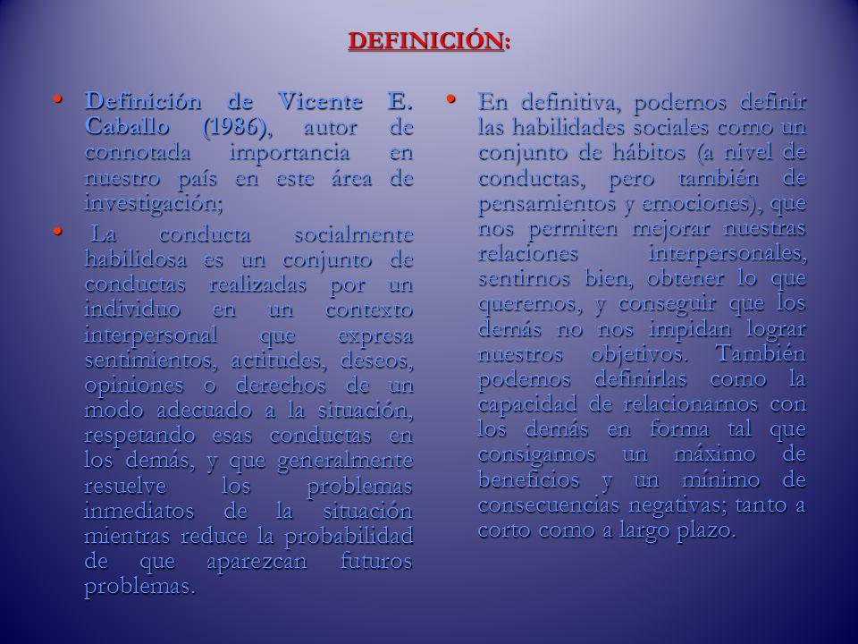 DEFINICIÓN: Definición de Vicente E. Caballo (1986), autor de connotada importancia en nuestro país en este área de investigación;
