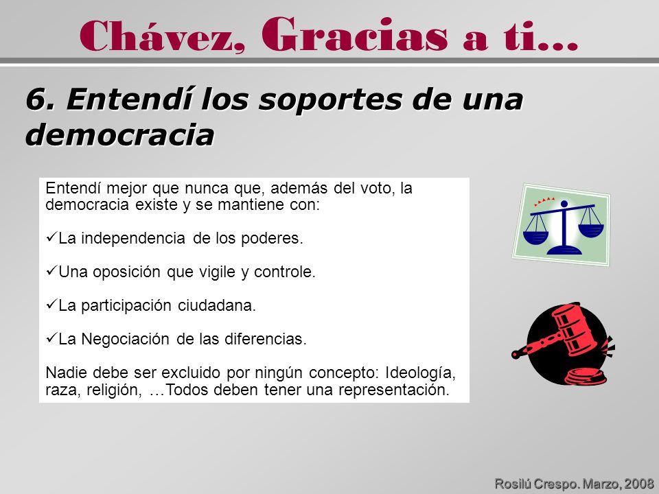 6. Entendí los soportes de una democracia