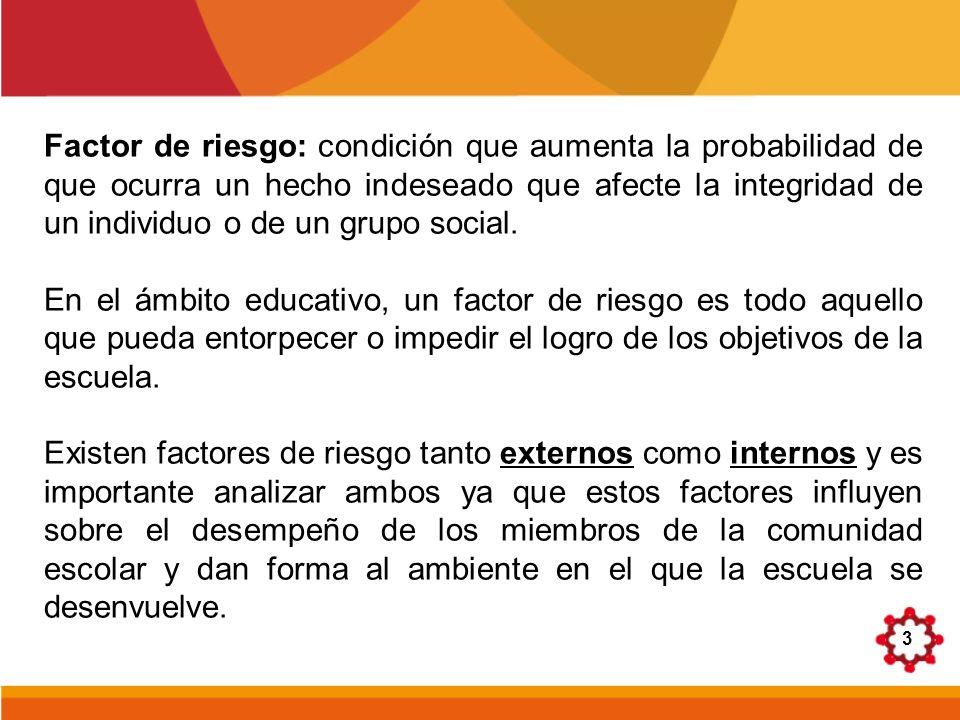 Factor de riesgo: condición que aumenta la probabilidad de que ocurra un hecho indeseado que afecte la integridad de un individuo o de un grupo social.
