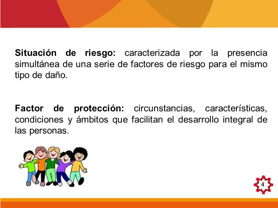 Situación de riesgo: caracterizada por la presencia simultánea de una serie de factores de riesgo para el mismo tipo de daño.