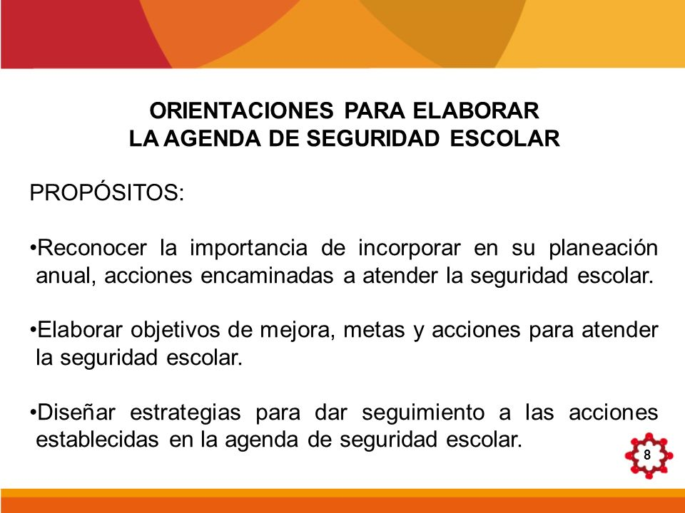 ORIENTACIONES PARA ELABORAR LA AGENDA DE SEGURIDAD ESCOLAR
