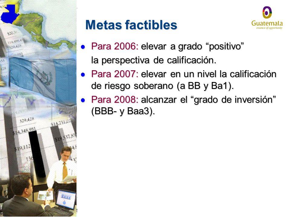 Metas factibles Para 2006: elevar a grado positivo