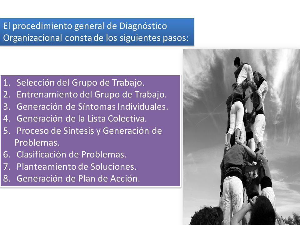 El procedimiento general de Diagnóstico Organizacional consta de los siguientes pasos: