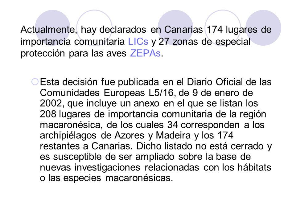 Actualmente, hay declarados en Canarias 174 lugares de importancia comunitaria LICs y 27 zonas de especial protección para las aves ZEPAs.