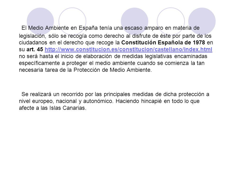 El Medio Ambiente en España tenía una escaso amparo en materia de legislación, sólo se recogía como derecho al disfrute de éste por parte de los ciudadanos en el derecho que recoge la Constitución Española de 1978 en su art. 45 http://www.constitucion.es/constitucion/castellano/index.html no será hasta el inicio de elaboración de medidas legislativas encaminadas específicamente a proteger el medio ambiente cuando se comienza la tan necesaria tarea de la Protección de Medio Ambiente.