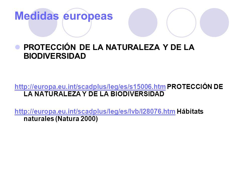 Medidas europeas PROTECCIÓN DE LA NATURALEZA Y DE LA BIODIVERSIDAD