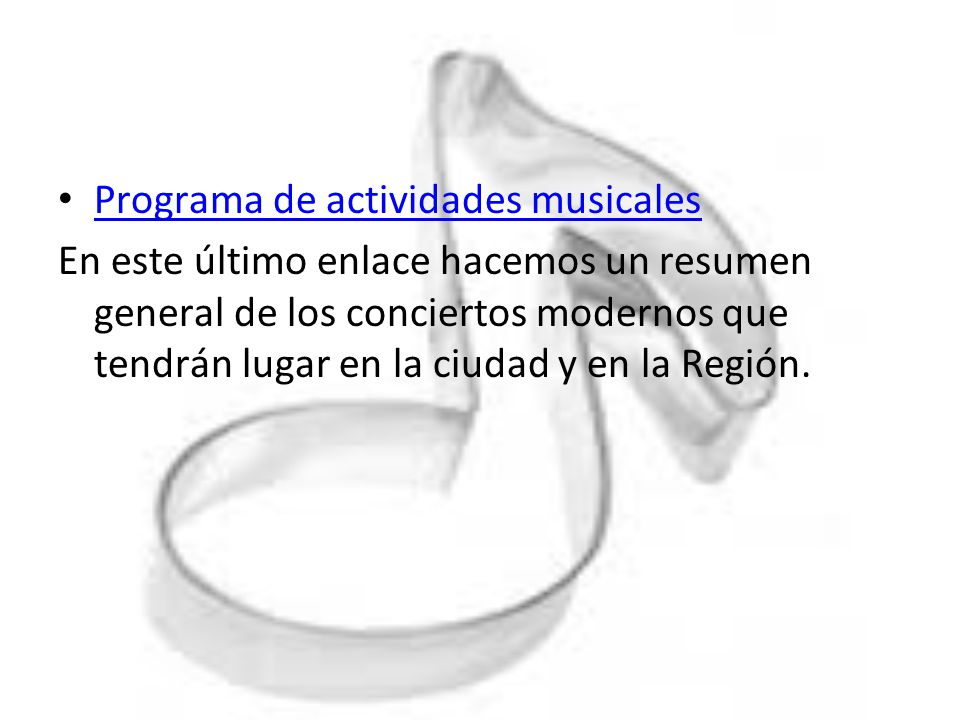 Programa de actividades musicales