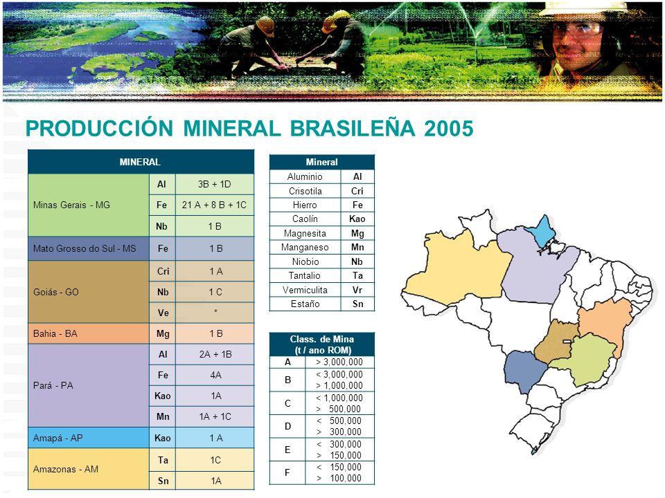 PRODUCCIÓN MINERAL BRASILEÑA 2005