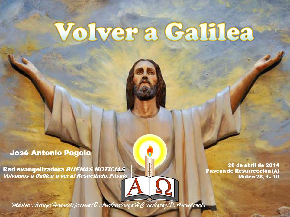 José Antonio Pagola 20 de abril de 2014. Pascua de Resurrección (A) Mateo 28, 1- 10. Red evangelizadora BUENAS NOTICIAS.