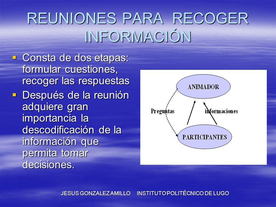 REUNIONES PARA RECOGER INFORMACIÓN