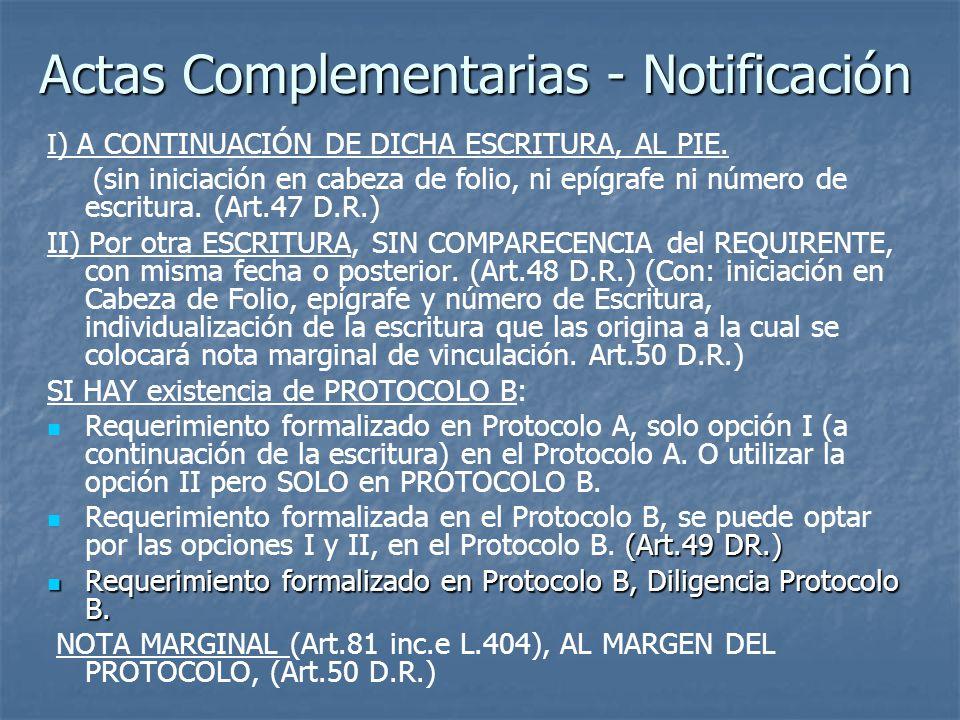Actas Complementarias - Notificación