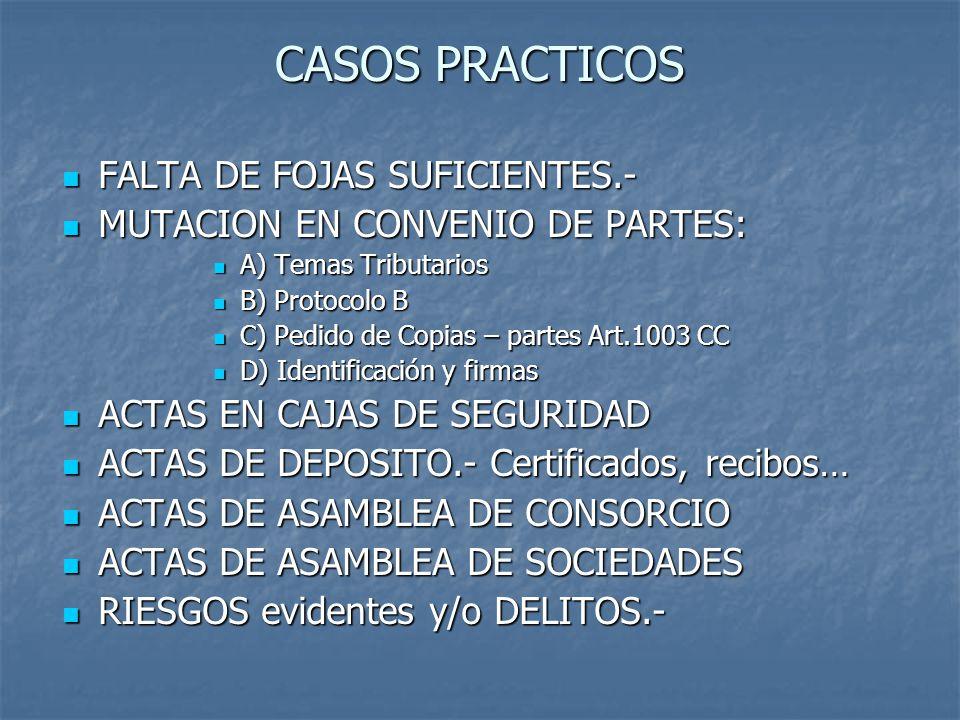 CASOS PRACTICOS FALTA DE FOJAS SUFICIENTES.-