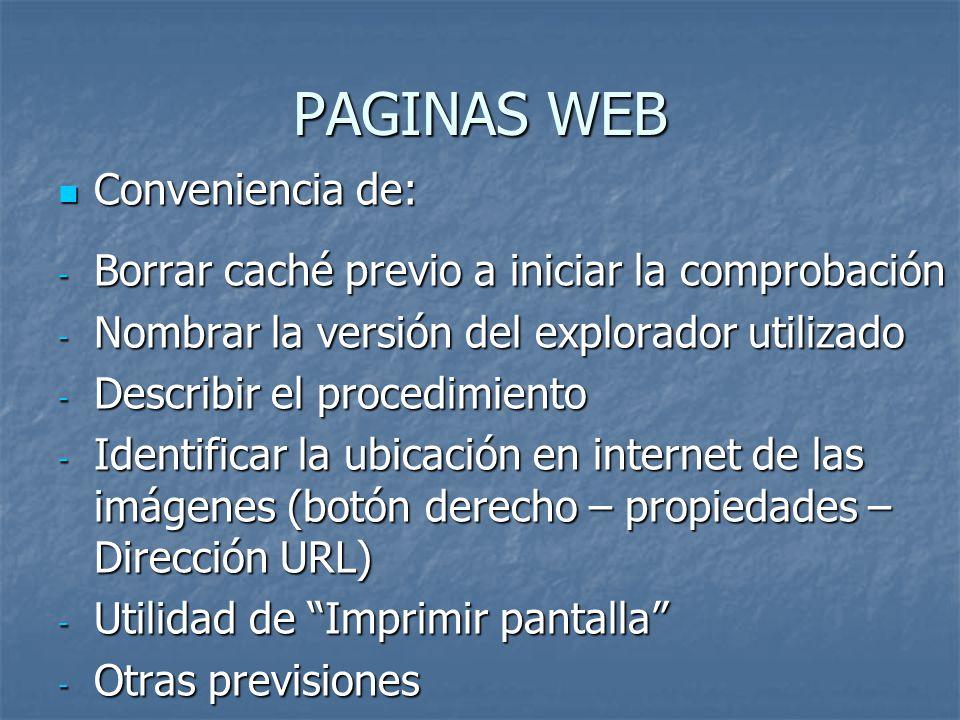PAGINAS WEB Conveniencia de: