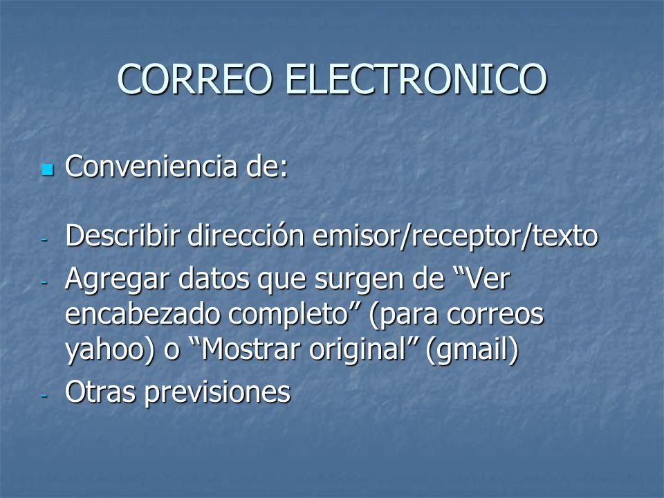 CORREO ELECTRONICO Conveniencia de:
