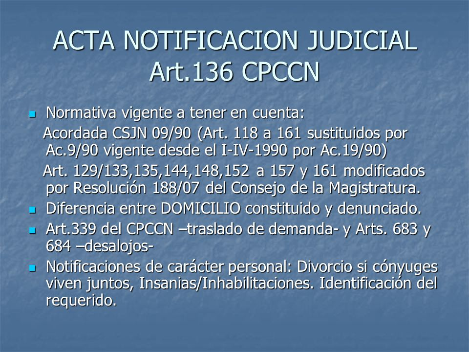 ACTA NOTIFICACION JUDICIAL Art.136 CPCCN