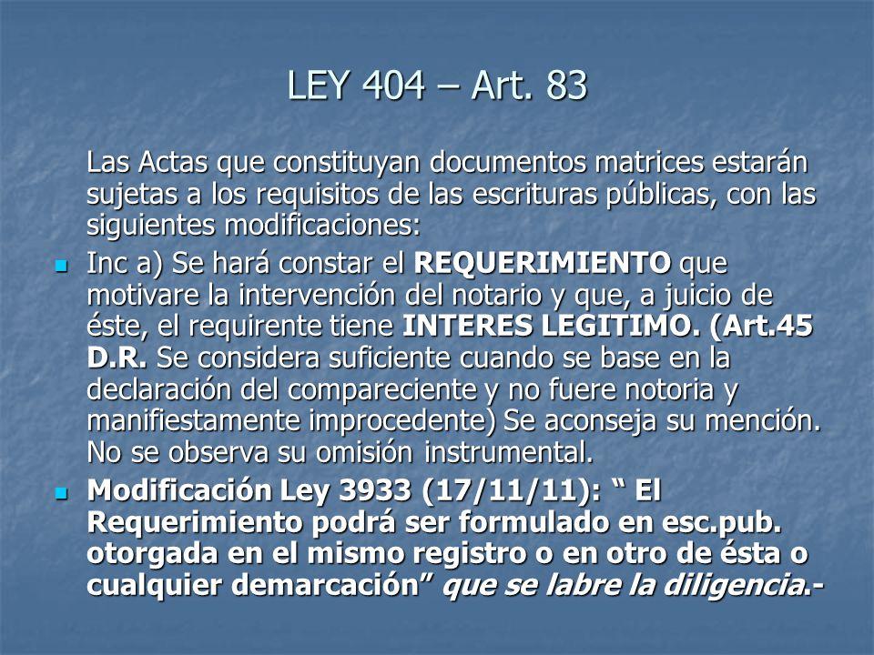 LEY 404 – Art. 83