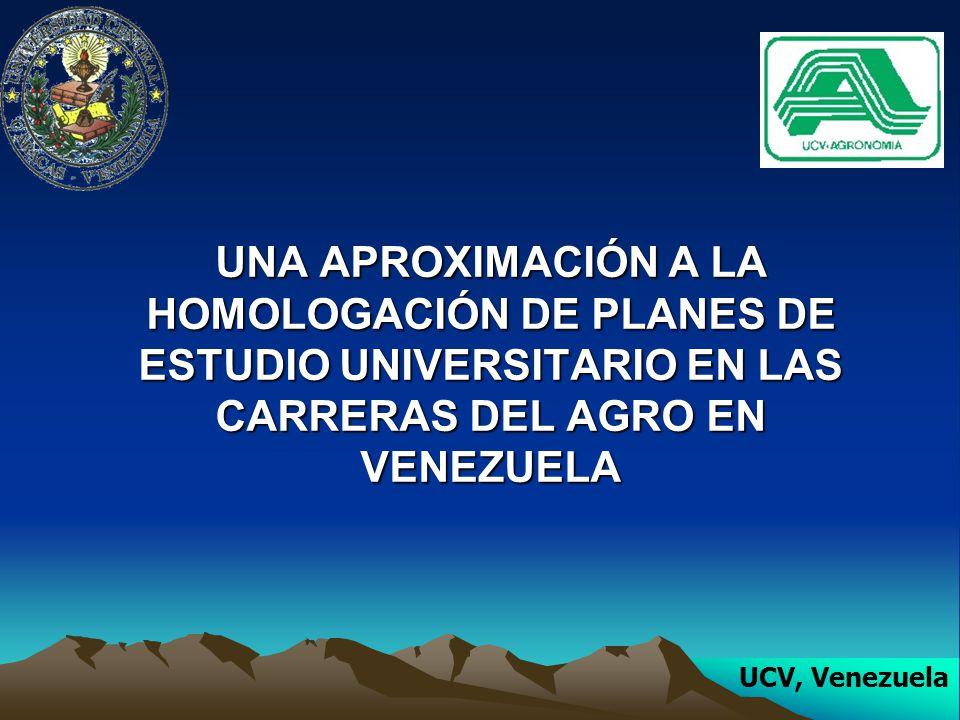UNA APROXIMACIÓN A LA HOMOLOGACIÓN DE PLANES DE ESTUDIO UNIVERSITARIO EN LAS CARRERAS DEL AGRO EN VENEZUELA