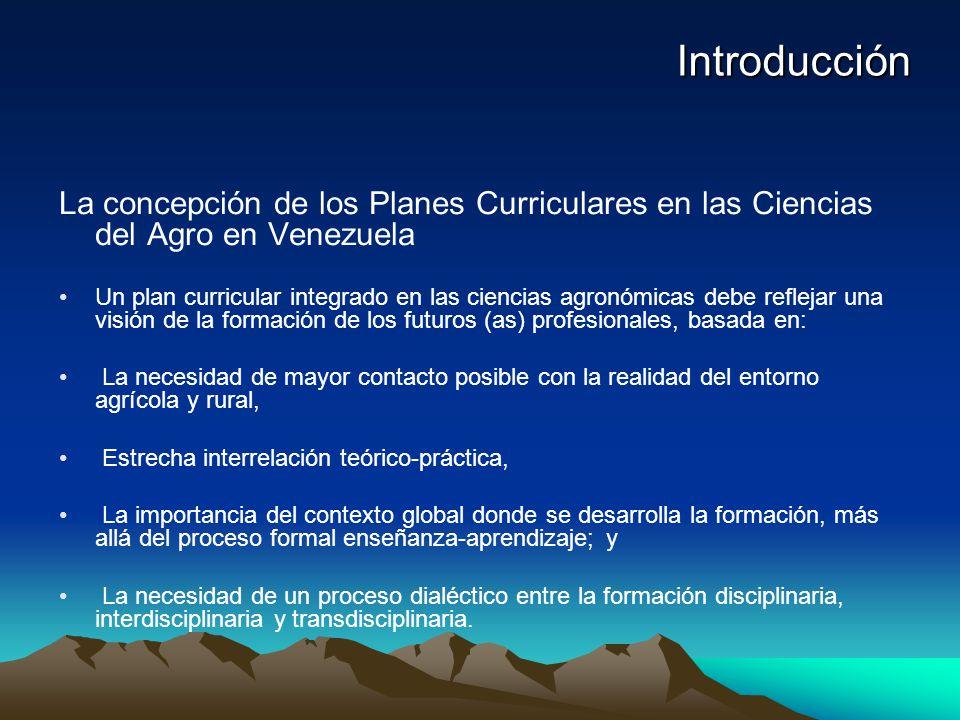 Introducción La concepción de los Planes Curriculares en las Ciencias del Agro en Venezuela.