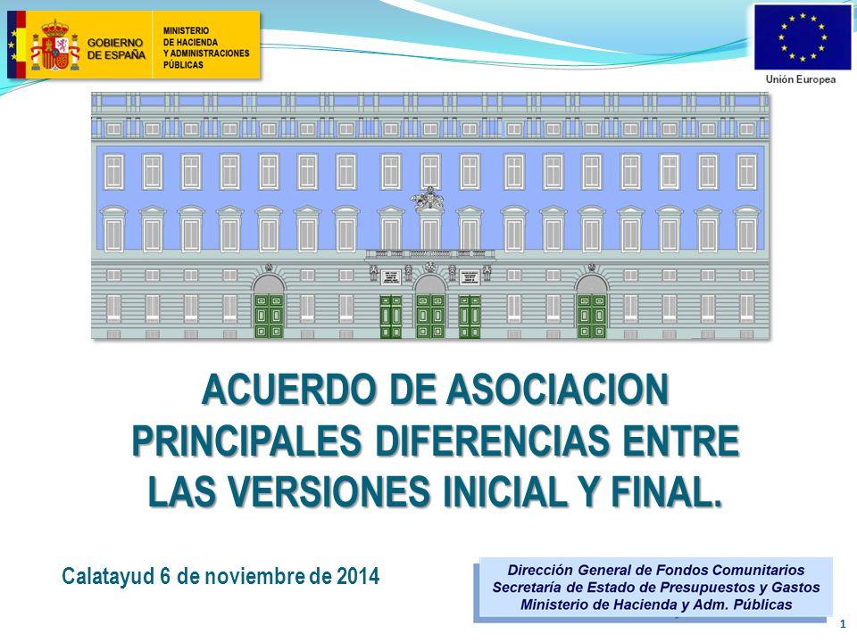 ACUERDO DE ASOCIACION principales diferencias entre las versiones inicial y final.