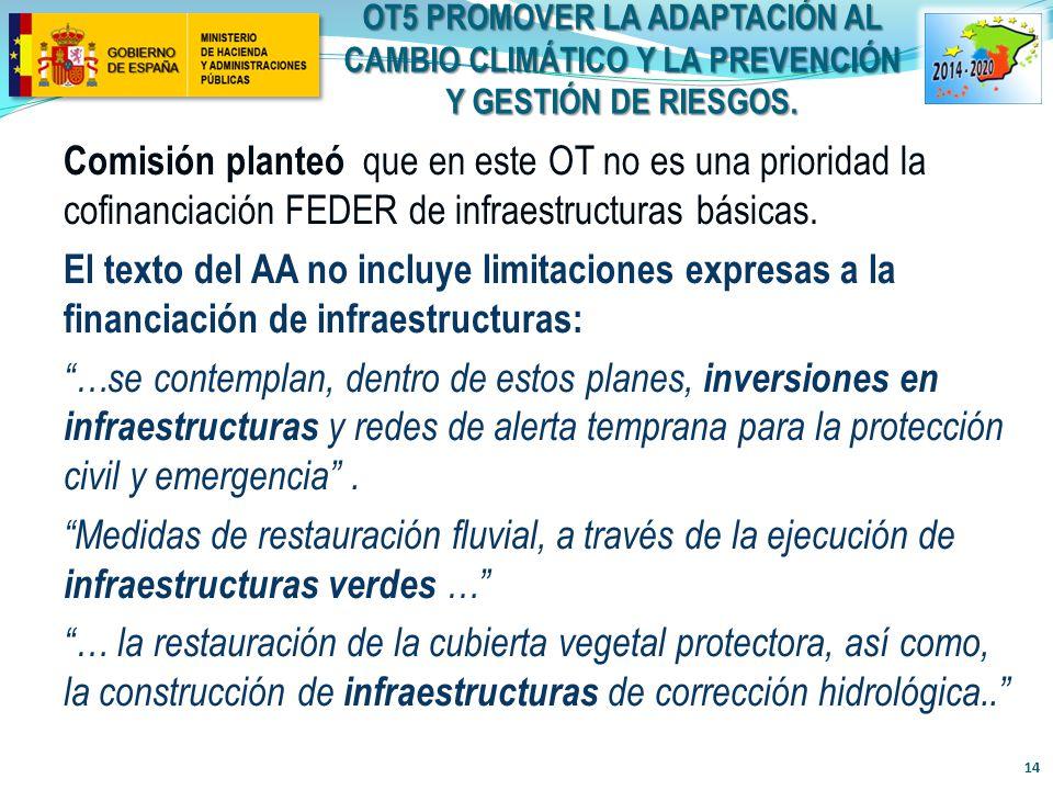 OT5 PROMOVER LA ADAPTACIÓN AL CAMBIO CLIMÁTICO Y LA PREVENCIÓN Y GESTIÓN DE RIESGOS.