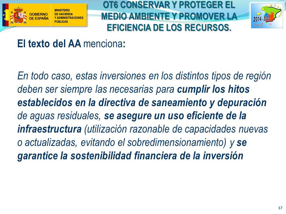 OT6 CONSERVAR Y PROTEGER EL MEDIO AMBIENTE Y PROMOVER LA EFICIENCIA DE LOS RECURSOS.
