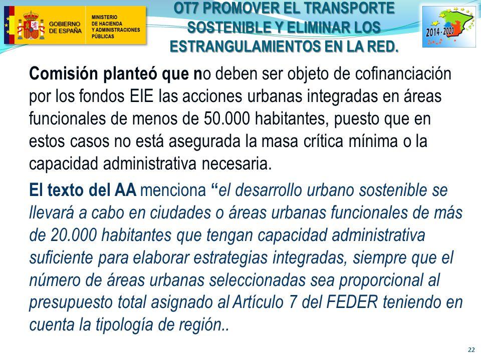 OT7 PROMOVER EL TRANSPORTE SOSTENIBLE Y ELIMINAR LOS ESTRANGULAMIENTOS EN la RED.